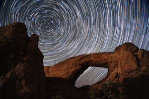 Star Trails over South Window Arch
